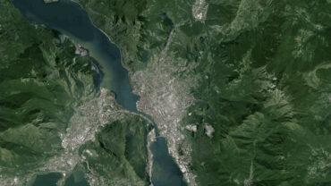 Foto aerea satellite Lecco