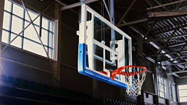 Basketball hoop in a game hall